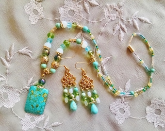 Turquoise opal necklace earring set, Antique gold turquoise opal, green statement necklace chandelier earrings set