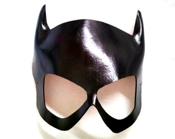 Black Leather Babbs 1960's Batgirl Cosplay Mask