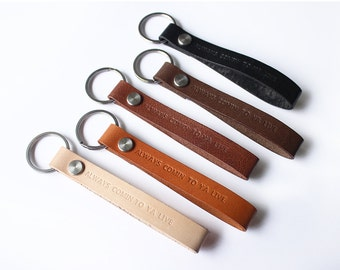 Personalized Leather Keychain / Hand Stamped Personalized Keychain / Little Leather / Gift for