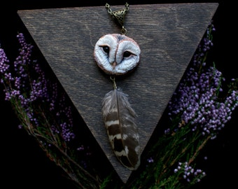 The Barn Owl Necklace polymer clay