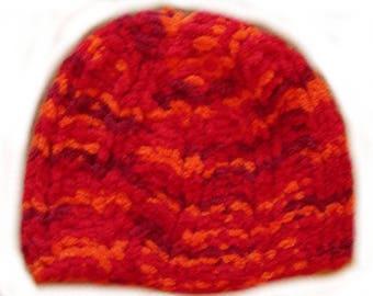 Heather Hat orange chenille yarn