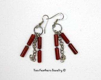 Red Jasper And Chain Earrings - Red Jasper Earrings - Boho Earrings - Red And Silver - Jasper And Silver - Dangle Earrings - Two Feathers
