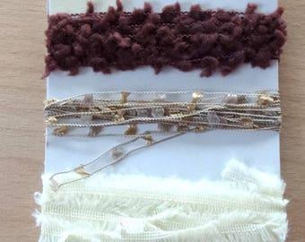 SET of 4 fancy trims - 8 m - ivory BEIGE Brown ref.81211 colors