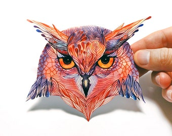 Owla bird of pray sticker, 100% waterproof vinyl label.