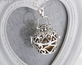 Harmony Cage LUCY with MATTE GOLD Bola Ball Pendant & Necklace - Pregnancy Maternity Mexican Angel Caller Mum to Be