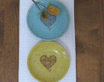 Wee Plate Set of 2 - Handmade Stoneware Ceramic Pottery - Blue Celadon and Sun Yellow - Heart