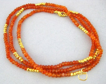 "Gemstone Beaded Chain with Heart charm -- Finished 18"" Carnelian and Gold Pyrite 4mm Bead Chain with Gold Lobster Clasp (B-5)"