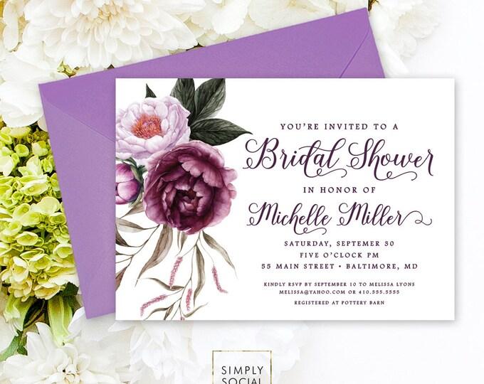 Purple Floral Bridal Shower Invitation - Greenery Purple Peonie Flowers Fall Autumn Bridal Shower Baby Shower Calligraphy Invite Printable