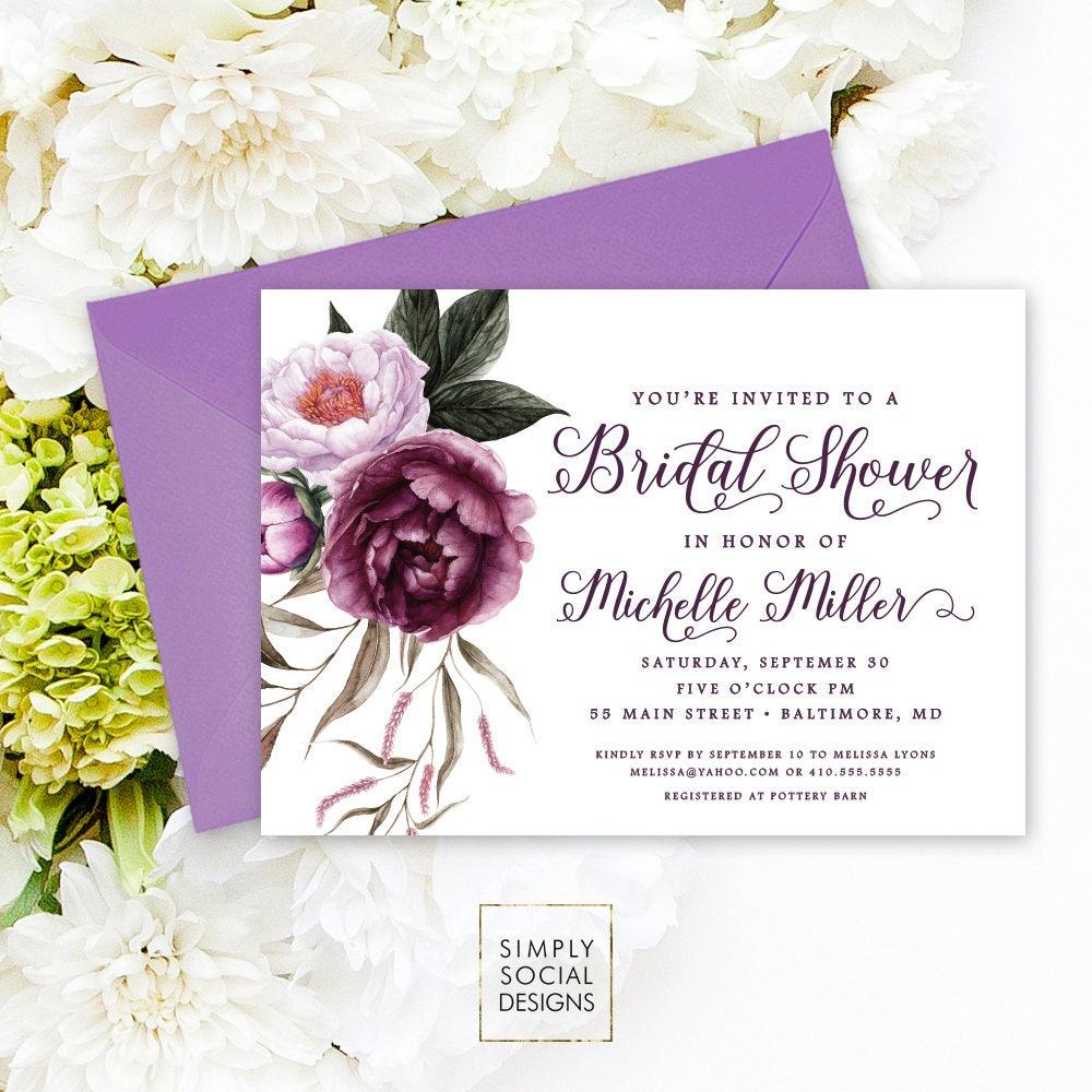 Purple Floral Bridal Shower Invitation - Greenery Purple Peonie ...