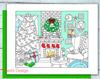 Printable Cozy Christmas Eve coloring page