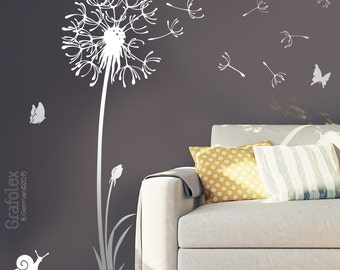 Wall decals dandelion seeds flying butterflies dandelion wall sticker wall sticker living room - dandelion wall decal vinyl decor w316
