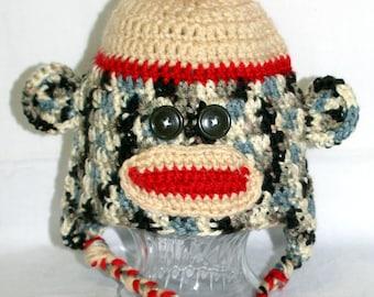 Monkey Me Hat, Crochet Child Size Hat, Sock Monkey, Handmade Hat, Sock monkey Hat, Rockford Sock Hat