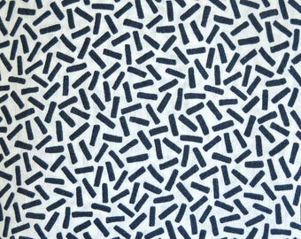 Navy Blue White Dance Lines Fabric Linen Cotton Blend, Fabric by the Yard, Sewing Fabric Clothing Material
