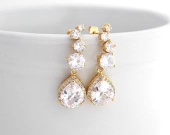 Gold Bridal Earrings, Gold Luxury Wedding Earrings, Clear Cubic Zirconia Earrings, Wedding Jewelry for Brides, Teardrop Wedding Earrings