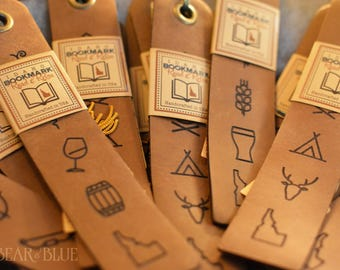 """Leather Bookmark with Tassel, Several """"Idaho Ideogram"""" Designs Available!"""