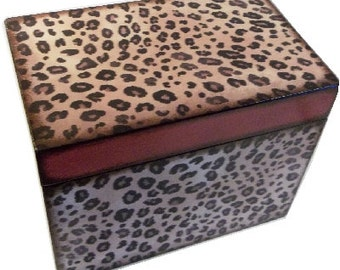 Recipe Box Decoupaged This Cheetah Box is Large and Handcrafted Holds 4x6 Recipe Cards  MADE To ORDER