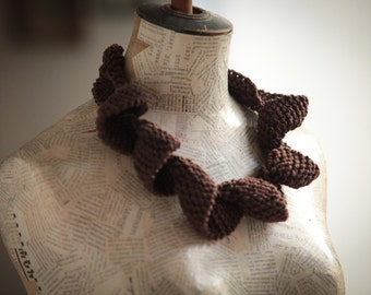 Textile jewelry Unique Knitting necklace-Fiber jewelry Curly necklace-Jewelry Cotton Brown  christmas gift Free shipping women handmade