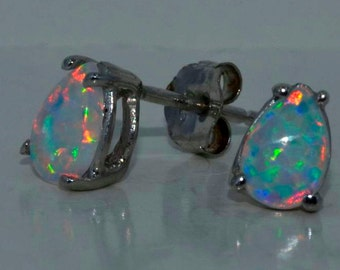 Opal Pear Stud Earrings .925 Sterling Silver White Gold Quality