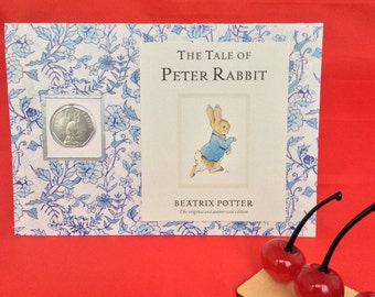 Peter Rabbit Beatrix Potter 50p coin personalised new baby christening children card
