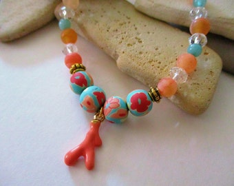 Amazonite and Agate Bracelet with Coral Charm | Beach Jewelry | Coral Jewelry | Aqua Blue | Amazonite Bracelet | Coral Bracelet | Clay Beads