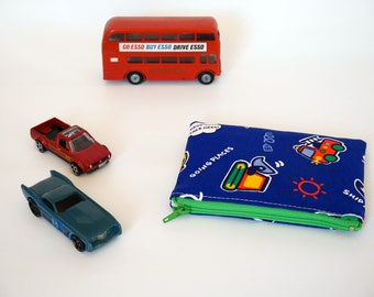 Blue zipper pouch, boys coin purse, boys zipper pouch, kids blue purse, gadget bag, vehicles
