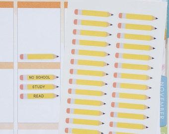 30 Big Pencil Stickers ~Updated~  // Planner Sticker for Erin Condren,Plum Paper, Happy Planner. No school | study | test | exam | homework