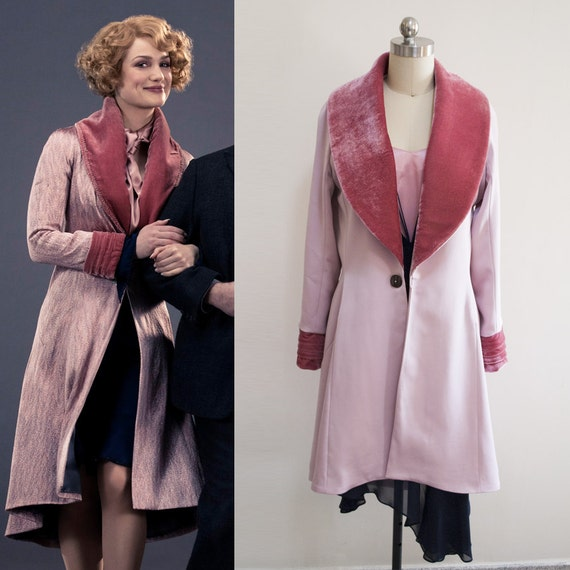 Vintage Style Coats, Jackets, Faux Fur, Tweed Fantastic Beasts and where to find them/ Pink Coat/ Queenie Goldstein/  $299.87 AT vintagedancer.com