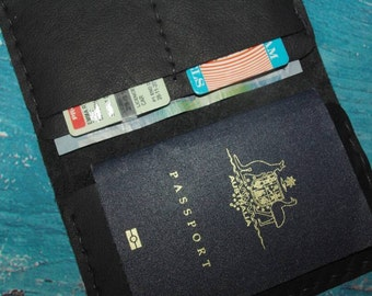 Leather and Hemp Passport Travel Wallet. Handmade in Australia, minimalist Black Leather Suede Cow Hide Beeswax Burnished Natural Materials