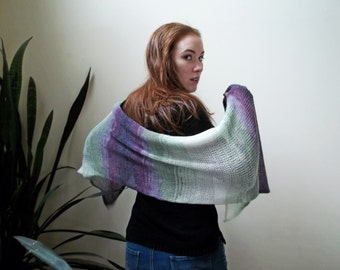 Ready to Ship Mohair Shawl - Knit Wool Mohair Acrylic Blend in Purple, Green, and White Wrap for a Light Shoulder Wrap - Wedding Shawl