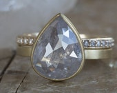 One of a Kind Opalescent Rose Cut Diamond Engagement Ring- 18kt