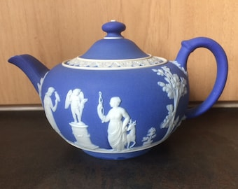 Beautiful Blue and White Teapot by Wedgwood with Classical Figures in relief