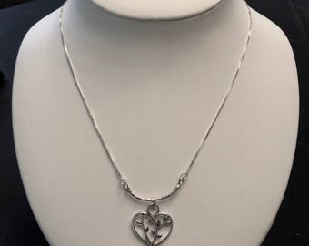 Delicate Sterling Silver Necklace with a Tree of Life Heart
