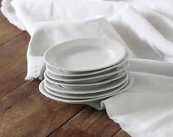 7 Vintage White Ironstone Platters, French Small Serving Dishes, Trinket Dish, Restaurant Ware, Set, Oval Plates, Farmhouse Prairie Cottage