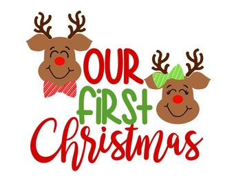 Our First Christmas; SVG, DXF, EPS, Ai and Pdf Digital Files for Electronic Cutting Machines