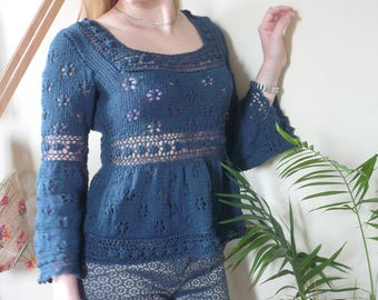 Lacy Blouse Top Women Ladies Hand Knitted Cotton Long Sleeves