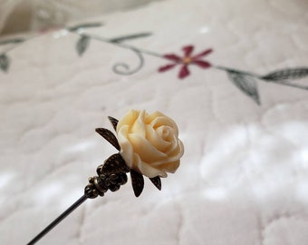 Victorian Hat Pin. Antique Inspired Soft Yellow Floral Rose & Filigree Brass, Scarf Pin Stick Pin. DISPLAY or USE! Strong, Clutch Included