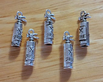 Fire extinguisher charm - fire truck charm - fireman charms - firemen charms - firefighters - fire department - fire jewelry - fire house