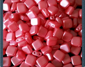 CZ 2 hole square beads, 6 mm, neon pink
