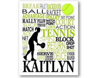 Personalized Tennis Poster, Gift For Tennis Player, Tennis Gift, Tennis Player Gift, Tennis Typography, Tennis Team Gift, Tennis Coach Gift