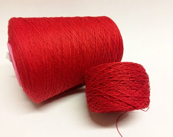 100g 100% red linen yarn 3ply linen thread red