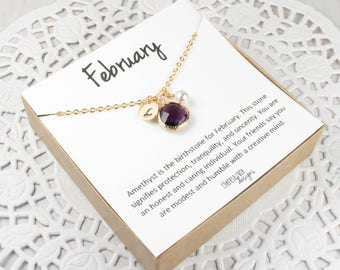 February Birthstone Personalized Gold Necklace, Amethyst Necklace, February Birthstone Jewelry, Personalized Gold Necklace, Gifts Under 25