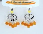 Yellow Sea Glass Earrings Frosted Glass Earrings Heart Chandelier Earrings Wire Wrapped Earrings Gift for Her Boho Earrings Summer Fashion