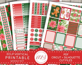 Printable Christmas Planner Stickers fits Erin Condren Vertical Planner Stickers, Weekly Planner Kit, Weekly Christmas Stickers, VS120