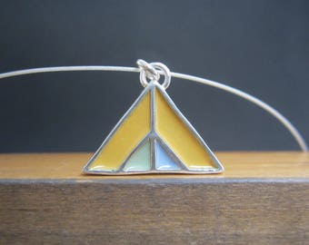 Mountain Necklace - New Century Modern - Green and Yellow Reversible Enamel Necklace