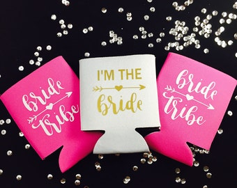 BrideTribe Can Coolers, Bride Tribe can hugger, can cooler, bachelorette can coolers, Custom can cooler, Bridesmaid gift