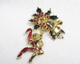 Avon Smithsonian Christmas angel Christmas bell rhinestone brooch pin