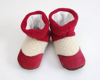 Felted slippers, wool slippers, kids boots, wool, moccasins, organic, wool, bamboo, kids house shoes, pink,  Sz 7/8 shoe, 2/3 years
