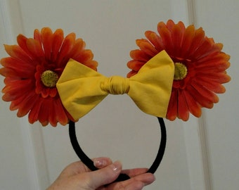 Orange Gerber Daisies Minnie Mouse Ears with yellow bow Disney