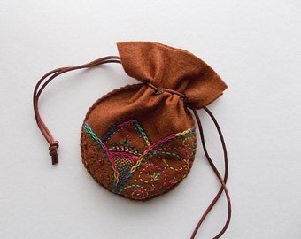 Jewelry Pouch Brown Felt Drawstring Bag with Abstract Embroidery Dots and Beads Handsewn
