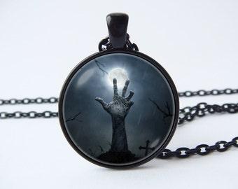 Necklace zombie hand Zombie pendant Creepy necklace Horror jewelry Scary pendant Zombie necklace Zombie jewelry Goth necklace Zombie lovers
